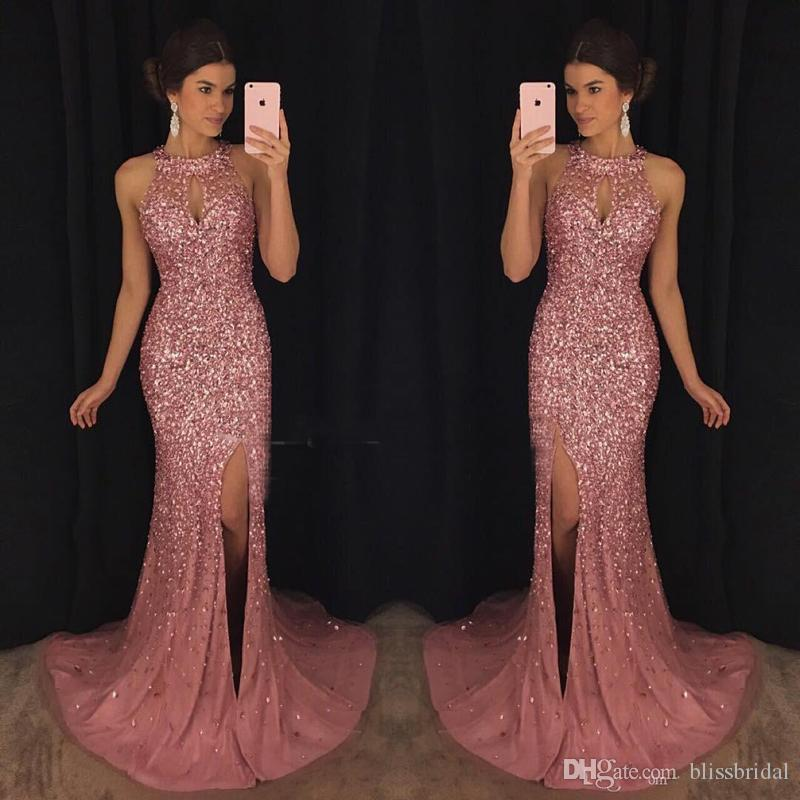 Luxus rosa abendkleider kaftan abaya nahen osten saudi arabien 2017 meerjungfrau halter sexy split prom kleider dress für party wear plus größe