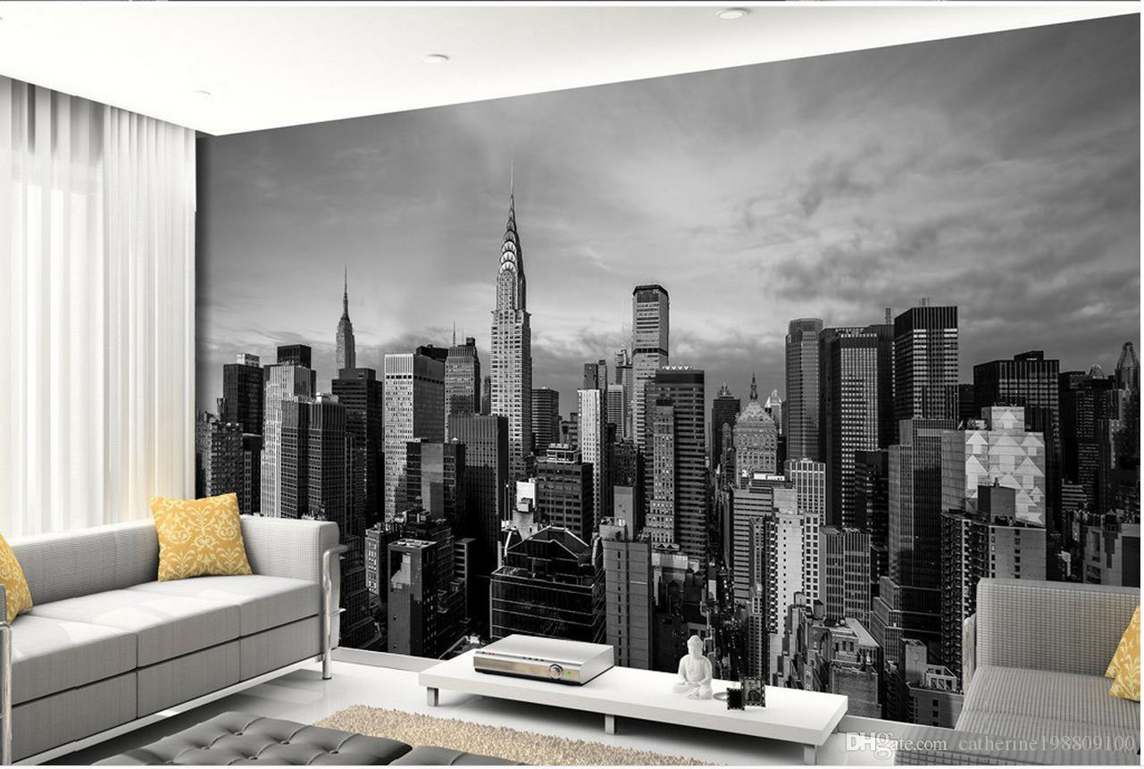 3d murals wallpaper for living room black and white new for Black and white new york mural wallpaper