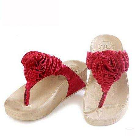 Moda Playa Chanclas Flor Zapatos Cuñas Mujer Plataforma Zapatillas Sandalias vmw8n0N