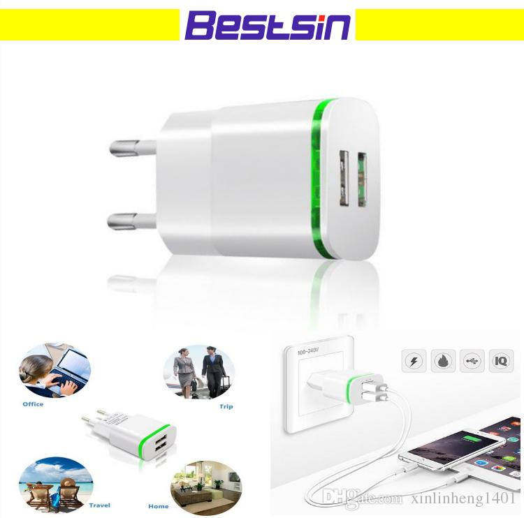 2.1A dual ports dock chargers USB travel wall universal cellphone charger for all smart phone free shipping