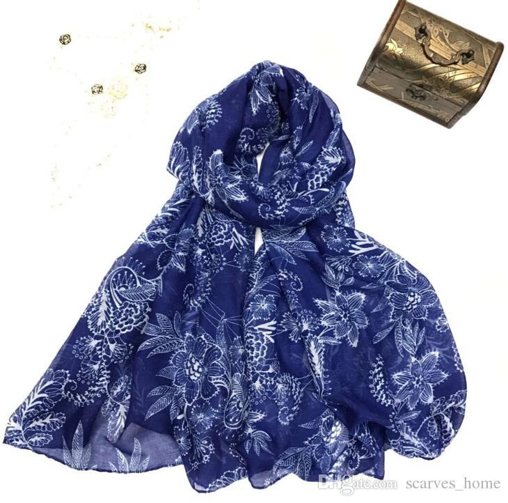 Новый дизайн цветочные вуаль хлопок шарф светлый цвет ретро Феникс цветок печати круг шарф большой размер длинные Scaves женщин бесконечности шарфы