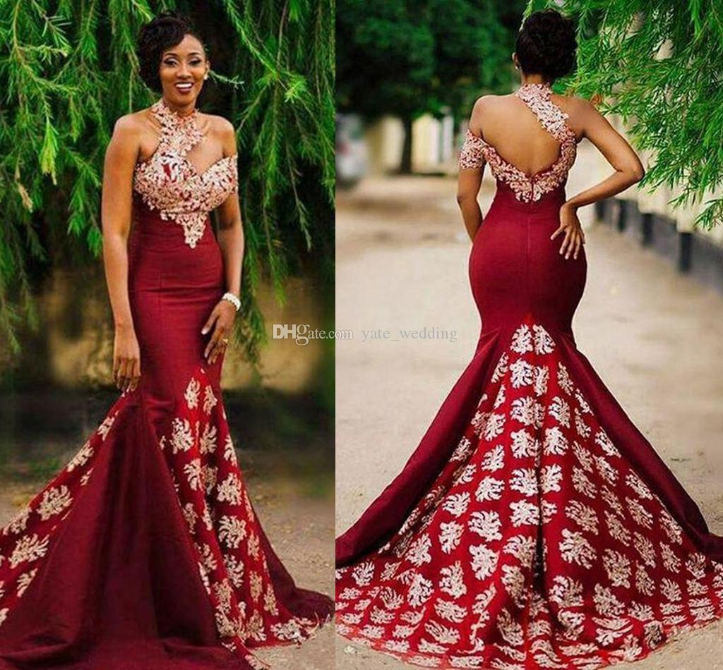 Dark Red Mermaid African Evening Dresses High Neck Appliques Satin ...