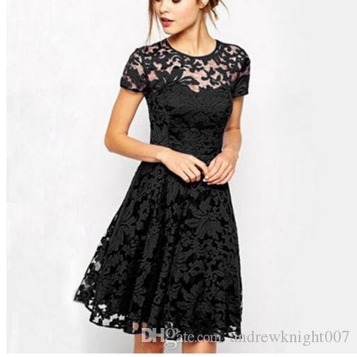2019 New Women Floral Lace Dresses Short Sleeve Party Casual Color Blue Red Black White Mini Dress Plus Size 5xl From Andrewknight007 501