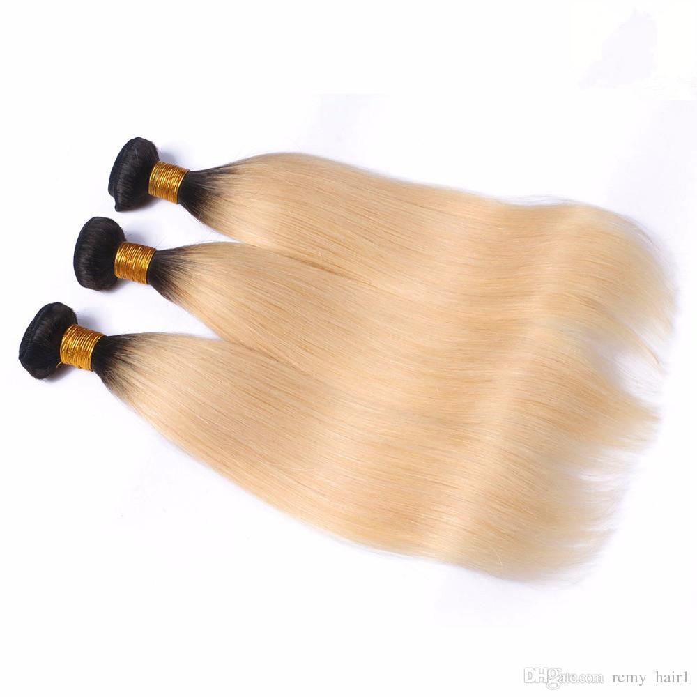 Radici scure # 1B / 613 Ombre bionde trame di capelli umani diritto serico 3 pacchi brasiliano vergine capelli biondi ombre ombre tesse estensioni 10-30
