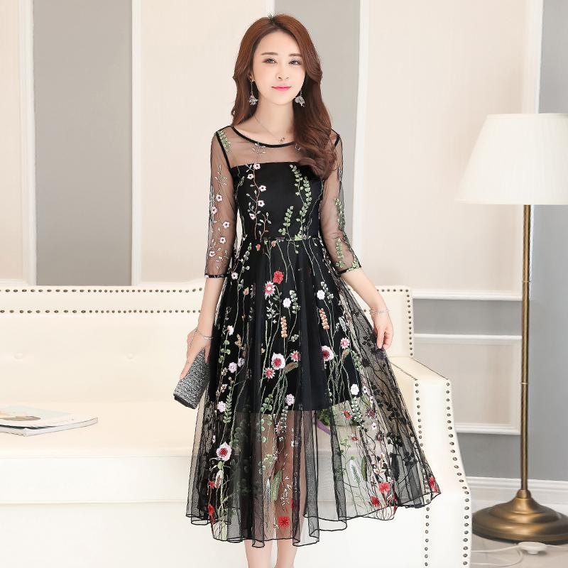 New Spring Two Sets Organza Dresses Korean Fashion Floral Printed