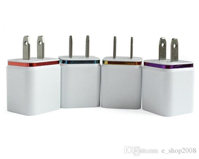 Chargeur de charge en métal double USB US EU Plug 2.1A Adaptateur secteur Chargeur mural 2 ports pour Iphone Samsung Galaxy Note LG Tablet