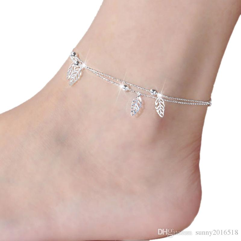 dd9500faa8f 2019 New 925 Sterling Silver Plated Rose Flower Anklet Bracelet Chain Leaf  Dolphin Charm Anklets For Women Barefoot Sandal Beach Foot Jewelry From ...