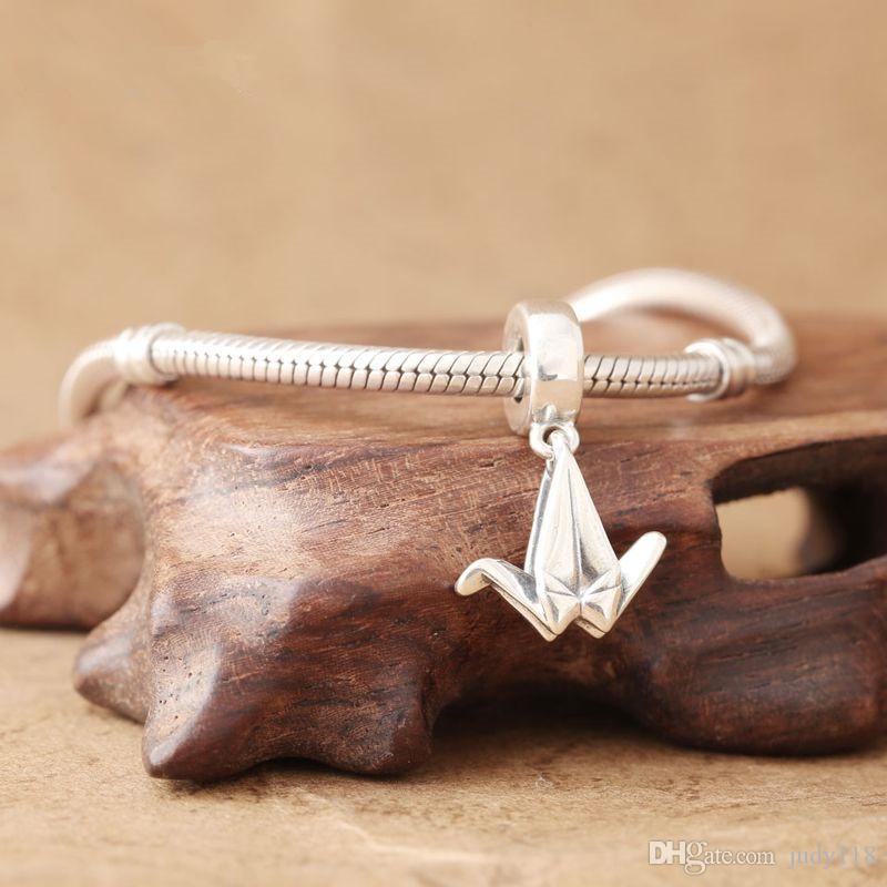Memono Gioielli Origami Crane Ciondola Charm 925 Sterling Silver charm Gru di Carta Ciondoli Pendenti Perline I Braccialetti Gioielli FAI DA TE Fare DA183