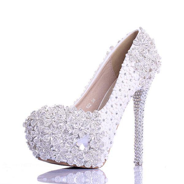 9f8ca3795 Sapatos Para Festa De Casamento Bling Bling Branco De Cristal Flor De Prata  Sapatos De Dança Vestido De Festa De Casamento Sapatos Super Sapatos De  Salto ...