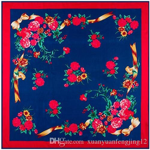 Lady's Morning glory 100% mulberry silk diagonal 90cm*90cm square scarf #82