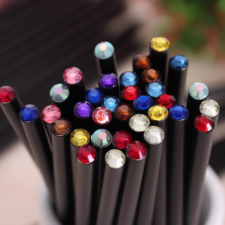(12Pcs/Set) Pencil Hb Diamond Color Pencil Stationery Items Drawing Supplies Cute Pencils For School Basswood Office School Cute