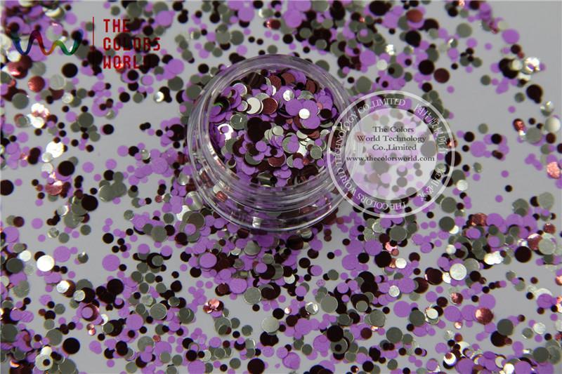 Wholesale-RFM321-205 Mix Colors Dot shapes round Glitter for nail art ,nail  gel, nail polish makeup and DIY decoration