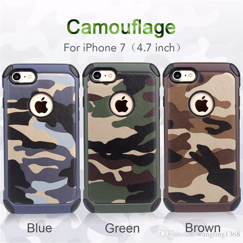 Case For iPhone 7Plus 2in1 Armor Hybrid Plastic+TPU Army Camo Camouflage Rear with Special Shockproof Angle Phone Cover for iPhone 7