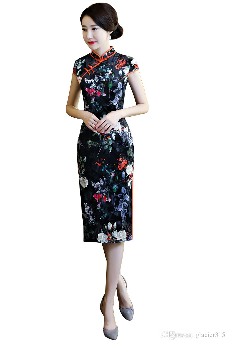 ccffed028 Shanghai Story Faux Silk Qipao Chinese Dress Flower Print chinese style dress  Chinese Oriental dress Woman's cheongsam