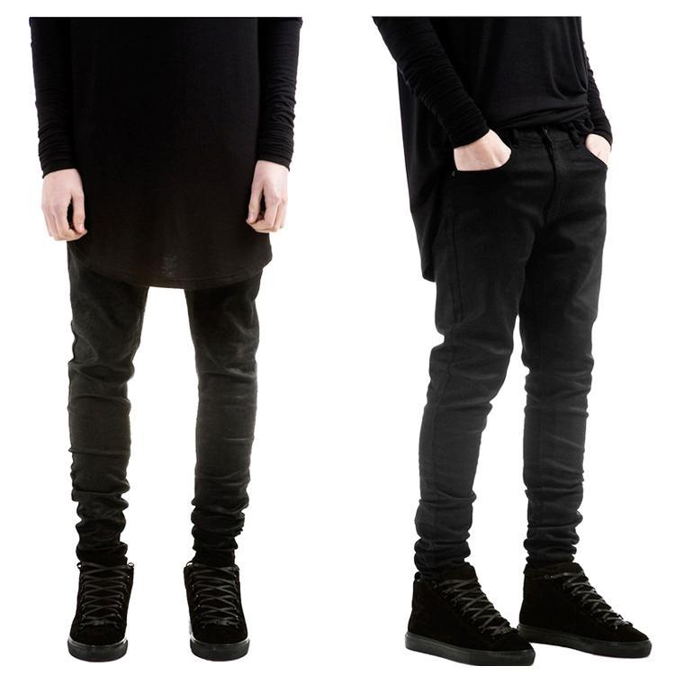 Compre Al Por Mayor Para Hombre Mono Hip Hop Moda Ropa Para Hombres Grandes  Pantalones 30 36 Diseñador Slp Kanye Roca Negro Encerado Jeans Delgados Denim  A ... 1f76618acc7