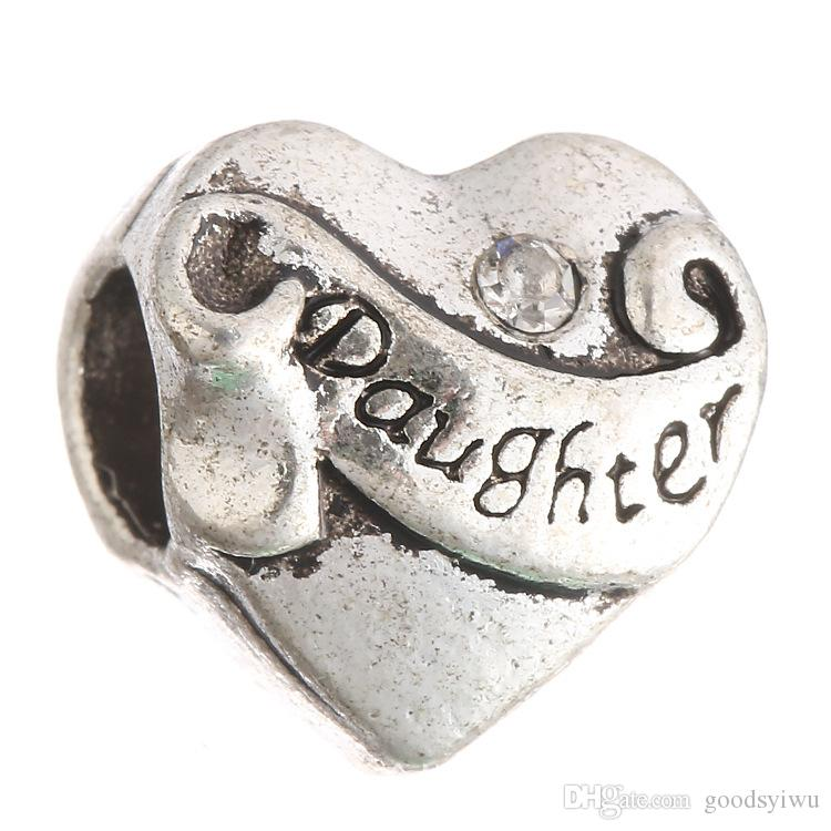 Rhinestone Crystal Hija Cartas de Plata Tibetana Forma de Corazón Granos Europeos Agujero Grande Espaciador Para Encantos Pulsera XZ18