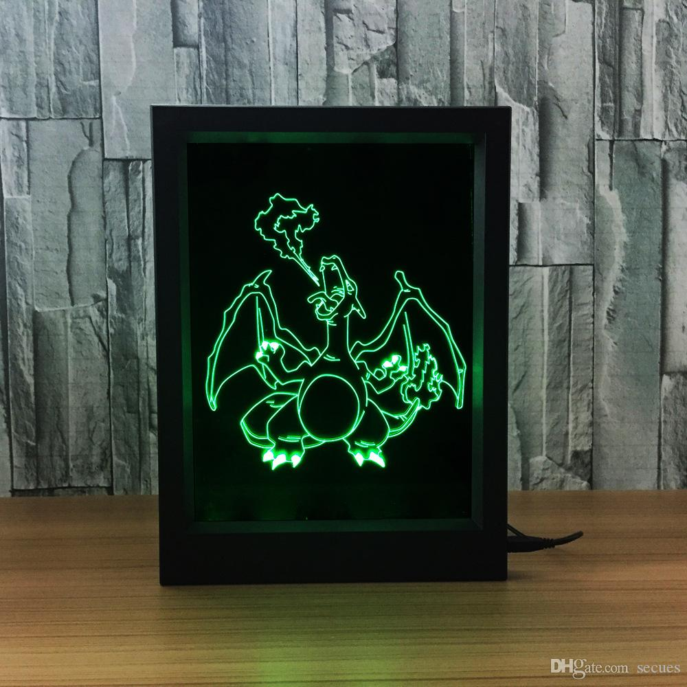 3D Charizard LED Photo Frame IR Remote 7 RGB Lights Battery or DC 5V Factory Wholesale Dropship