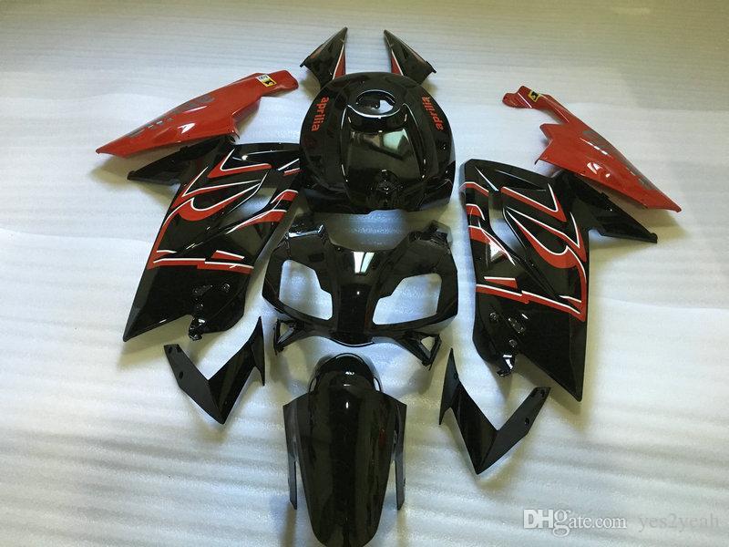 حقن طقم طقم جسم السيارة لأبريليا RS125 06 07 08 09 10 11 RS 125 2006 2011 أحمر أسود Fairings مجموعة AA01