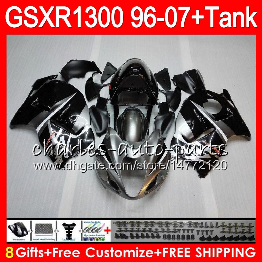 8Gifts 23Colors For SUZUKI Hayabusa GSXR1300 96 97 98 99 00 01 15HM2 GSXR 1300 GSX R1300 GSXR-1300 02 03 04 05 06 07 Fairing Black silvery