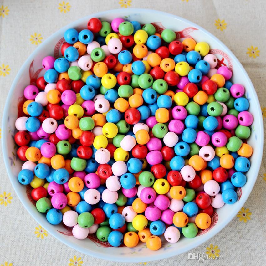 300 unids / lote 8mm Perlas Sueltas Multi Color Perlas de Madera Natural Agujero Recto Europeo Granos de Madera Redonda Para Niños Joyería DIY que Hace la Decoración