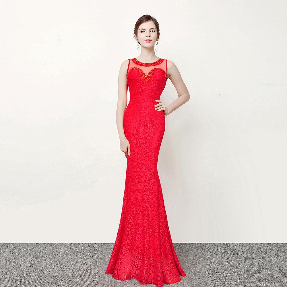 Großhandel Red Mermaid Party Kleid Jewel Neck Ärmellose Blue Black ...