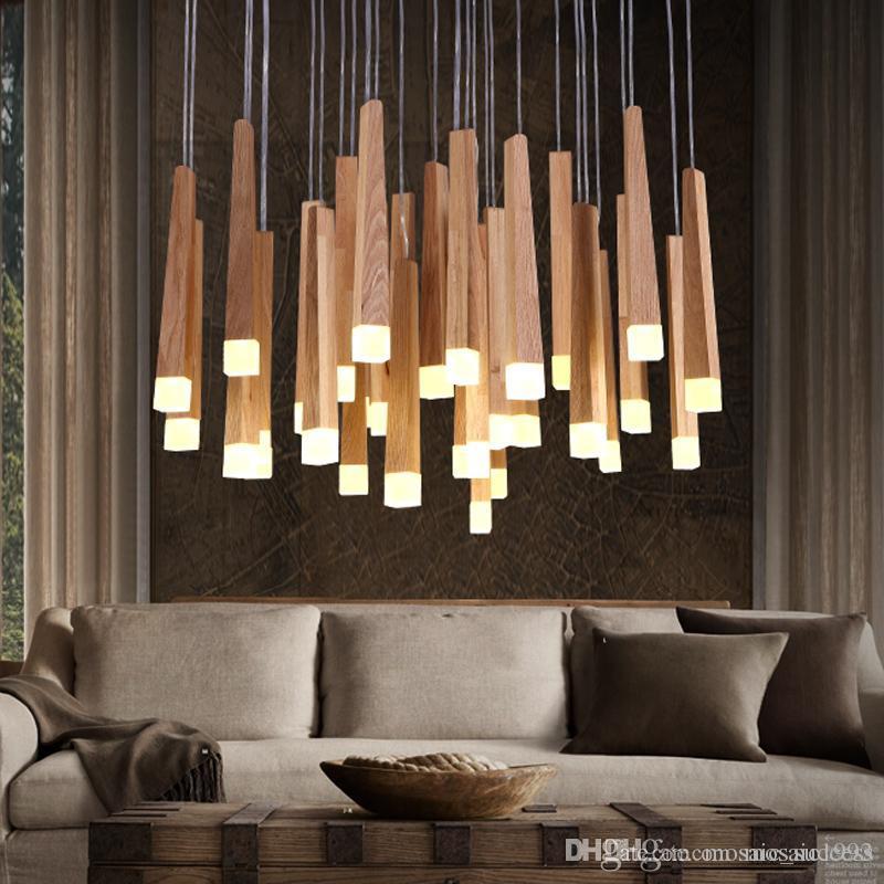 Vintage Hanging Pendant Lights Wood Suspension Lighting Fixtures Modern Lustres De Led Indoor Lighting Home Deco Luminaire Lamps Hanging Lights Ceiling