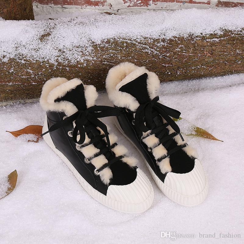 2017 Kış Kürk Kar Botları Kadınlar için yüksek üst Ayak Bileği Rahat Takviye Sıcak Ayakkabı