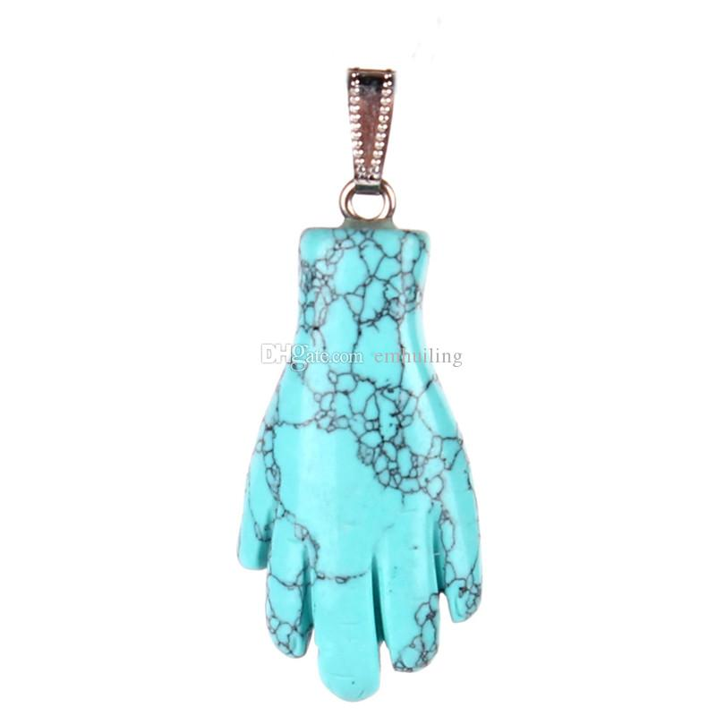 Exclusive Hand Palm Shape Natural Stone Quartz Crystal Pendant Fashion Carved Pink Rose Quartz Black Onyx Bead Charm for Jewelry Accessories