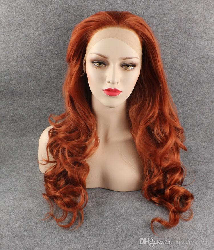 Top Quality Natural Brown Red Long Wavy Hair Synthetic Lace Front