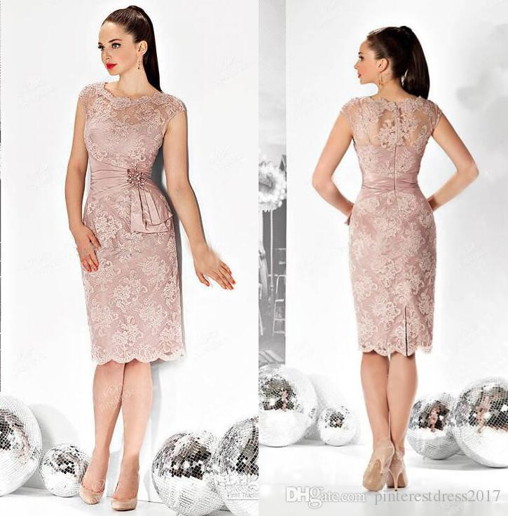 0ee4df2958f Blush Pink Short Knee Length Mother Of The Bride Groom Dresses With Plus  Size With Sequins And Beads Robe Mere De Marie Canada 2019 From  Pinterestdress2017