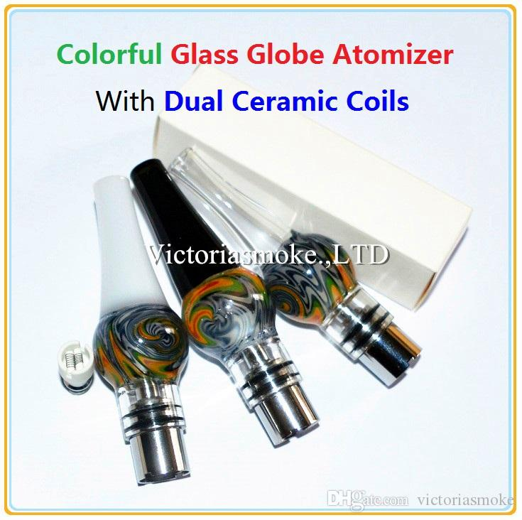 DHL Free Glass Globe Atomizer with Dual Ceramic Coils for wax Vaporizer Wax Vapor Tank with Ceramic Coil Head for EGO T Evod Battery eCigs
