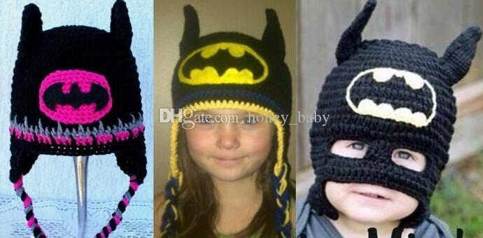 303cec541f1 2019 Batman Mask Super Hero Hat Baby Kids Infant Toddler Boys Girls Newborn Winter  Children Beanie Crochet Knitted Skull Caps Cotton Photo Props From ...