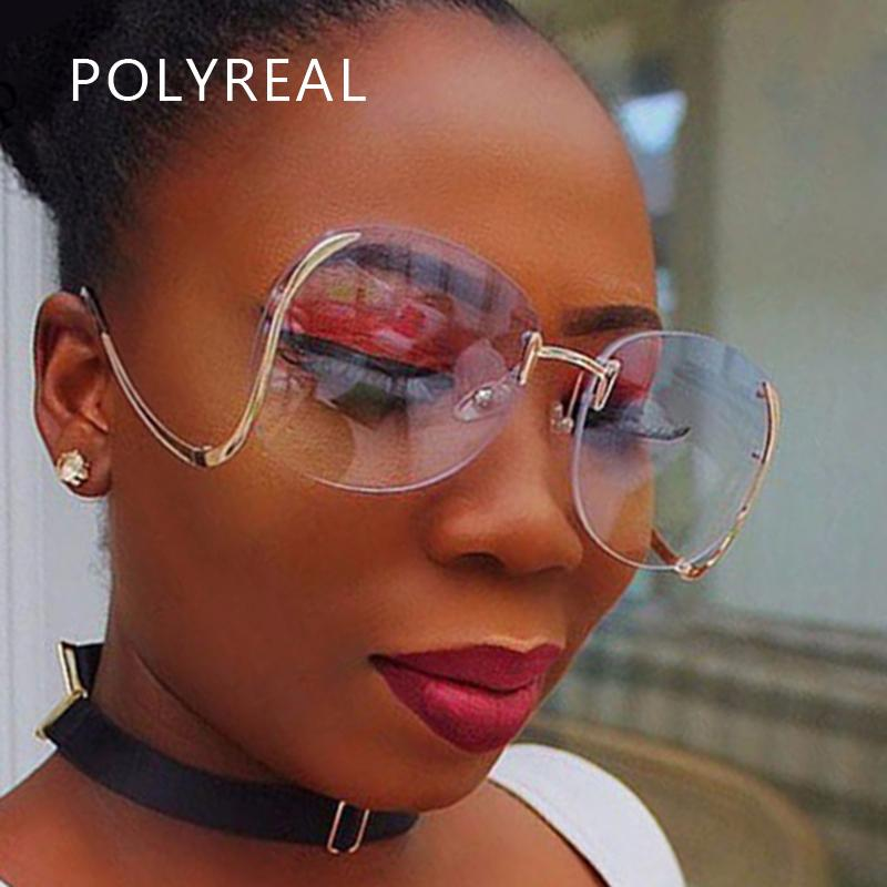 Wholesale-POLYREAL New Vintage Oversized Rimless Sunglasses Retro ...