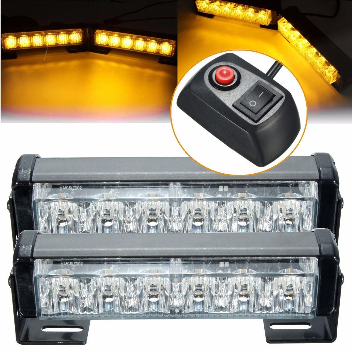 2017 new 2x 6 led 12v amber car flashing hazard light strobe flash