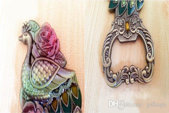 Handmade enamel color tin alloy Russian diamond peacock Fridge magnets bottle opener