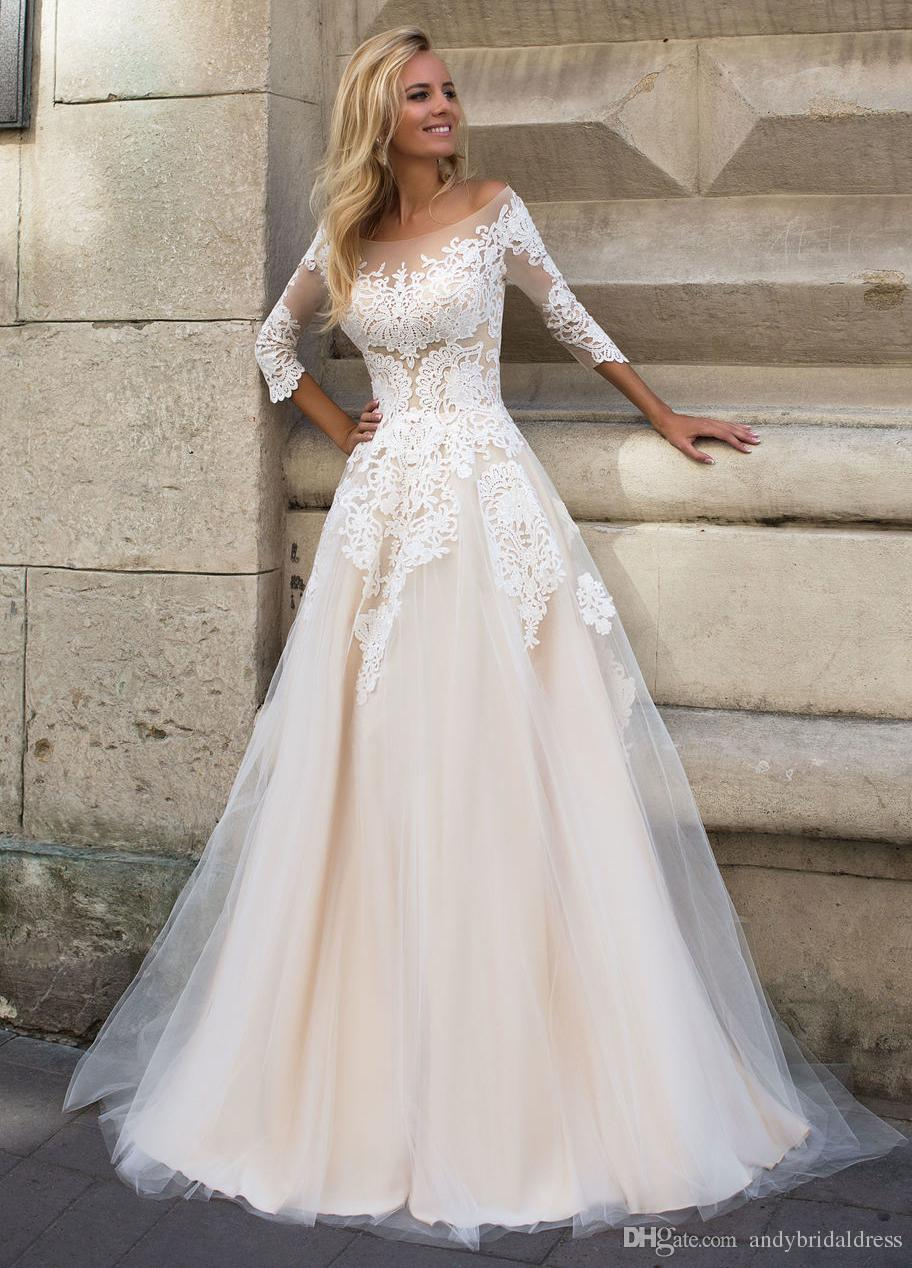 Wedding Dress With Sleeves.3 4 Sleeves Lace Appliqued Champagne Wedding Dress For Bride 2019 A Line Dropped Waist Scoop Bridal Dresses Wedding Gown