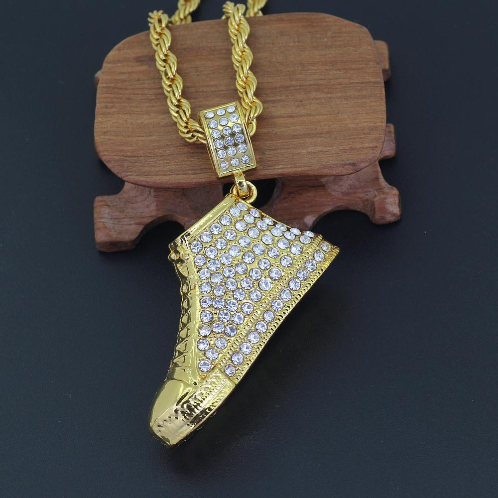 Crystal Big Size Shoe Pendant Necklace Men Fashion Hip Hop Jewelry For Gift N728