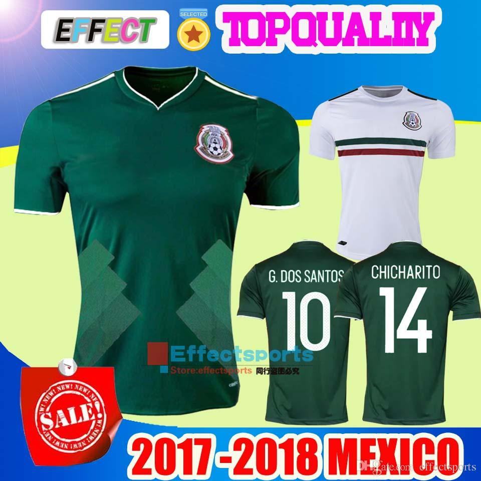 8db7aa46e ... New Arrived 2017 2018 Mexico Soccer Jersey Home Away 17 18 Green  CHICHARITO Camisetas de futbol ...