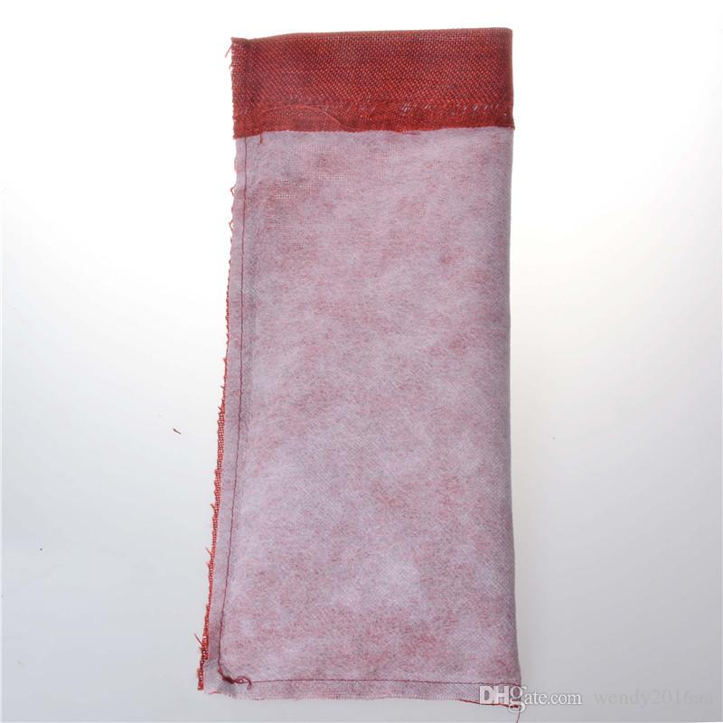 10 adet / grup Jüt Şarap Şişesi Hediye Çanta bordo 16 * 36 cm Noel şarap Süslemeleri katlanır çanta Şenlikli malzemeleri