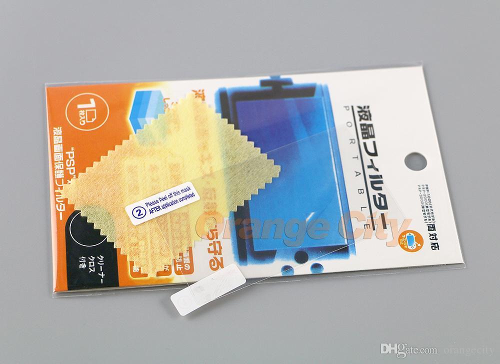 ارتفاع شفاف حامي شاشة واضحة غطاء زائد قماش نظيفة فيلم واقية للحصول على PSP 1000 2000 3000 الحرس واقية