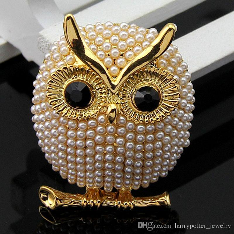 2017 Hot sale New arrive Lovely simulated pearl owl brooches for girl women animal cute pins for party jewelry broche 170749