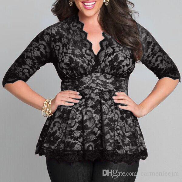 cf10d757c4f Plus Size Lace Blouses For Chubby Women 3 4 Long Sleeve 2017 Sexy Blusas  Shirts Floral Oversized Tops DHL Free Ship Plus Size Lace Blouses Long  Sleeve Large ...