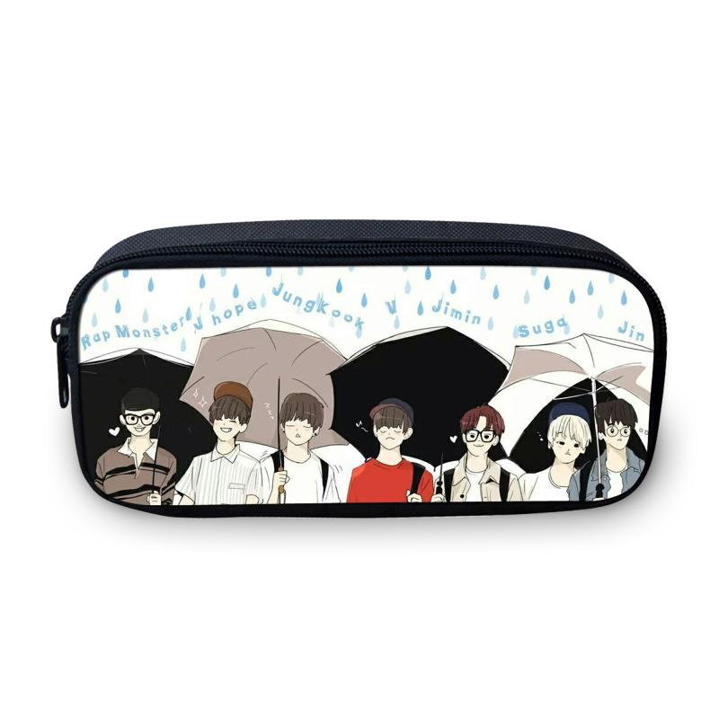 VEEVANV Design Korea BTS Cartoon Cosmetic Bag para niñas adolescentes School Makeup Pen Small Bag For Children Exo Pencil 3D Coin Case