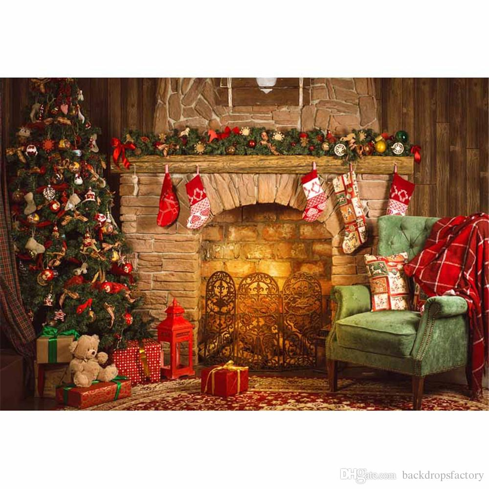 Indoor Merry Christmas Fireplace Background Vintage Computer Printed Xmas Tree Toy Bear Gift Boxes Chair Happy New Year Photography Backdrop