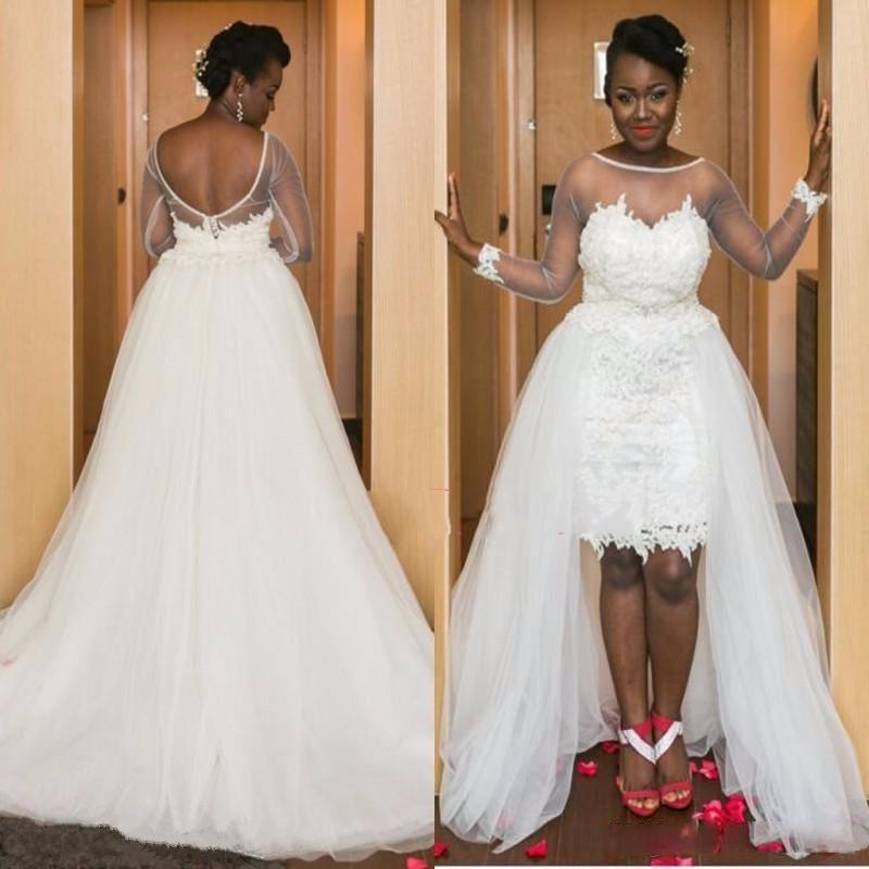 Discount Cheap Wedding Dress Plus Size 2017 Detachable