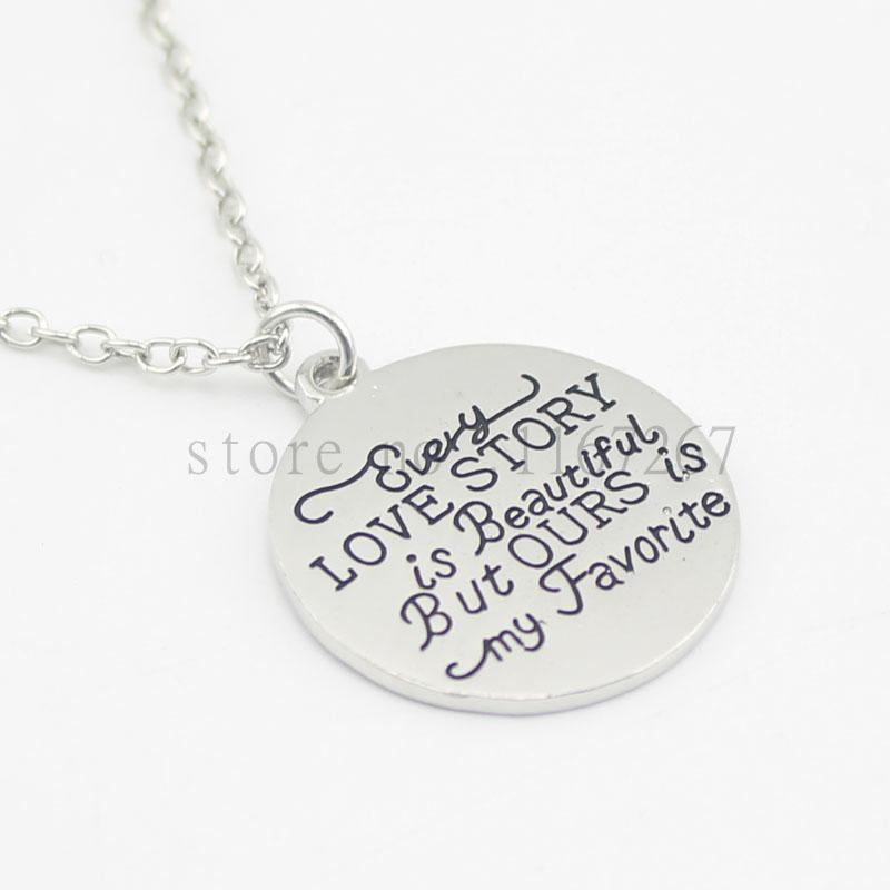 "2016 new arrive Hand Stamped ""Every Love Story Is Beautiful, But Ours is My Favourite"" Valentine's Day Anniversary Gift for her"