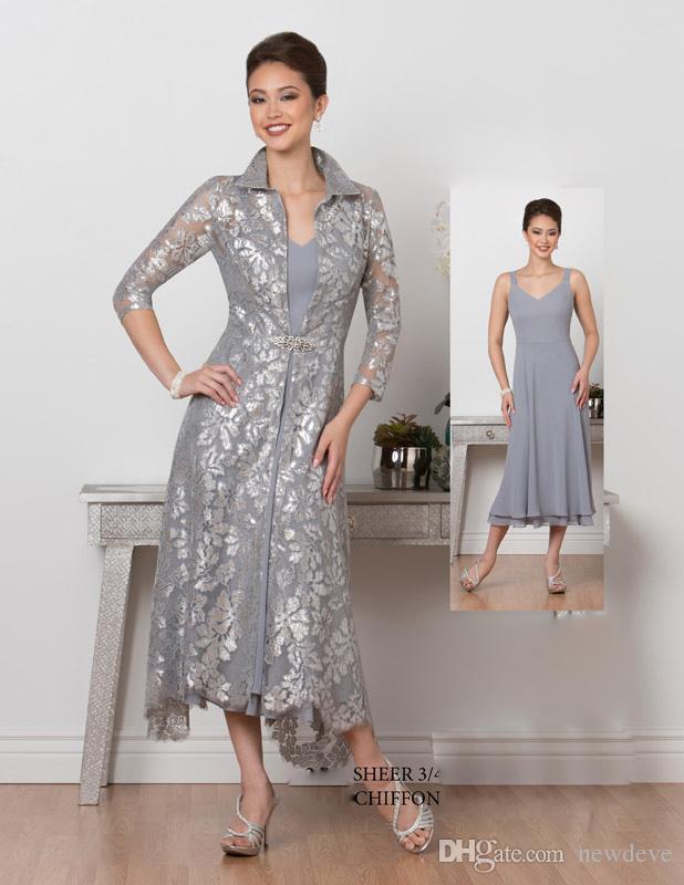 482e022dd80 Satın Al Çay Boyu Anne Gelin Elbiseler Kollu Basamaklı Ruffles A Hattı Artı  Anneler Ücretsiz Dantel Ceket Ile Elbise