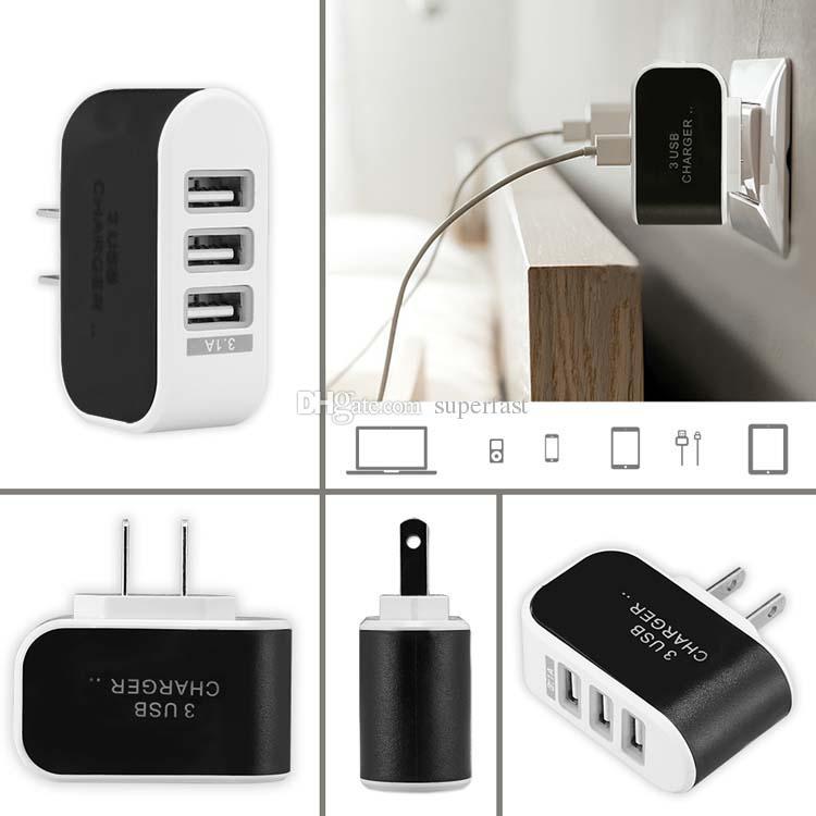 3 USB зарядное устройство LED адаптер путешествия адаптер тройной USB порты зарядные устройства Home Plug для мобильного телефона с пакетом Opp