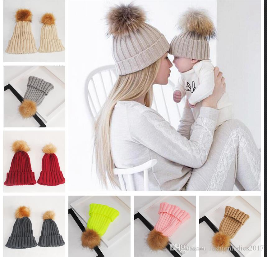 bb095944c7d6b Mom And Baby Matching Knitted Hats Warm Fleece Crochet Beanie Hats Winter  Mink PomPom Kids Children Mommy Headwear Hat Caps Hats For Sale Hats Online  From ...