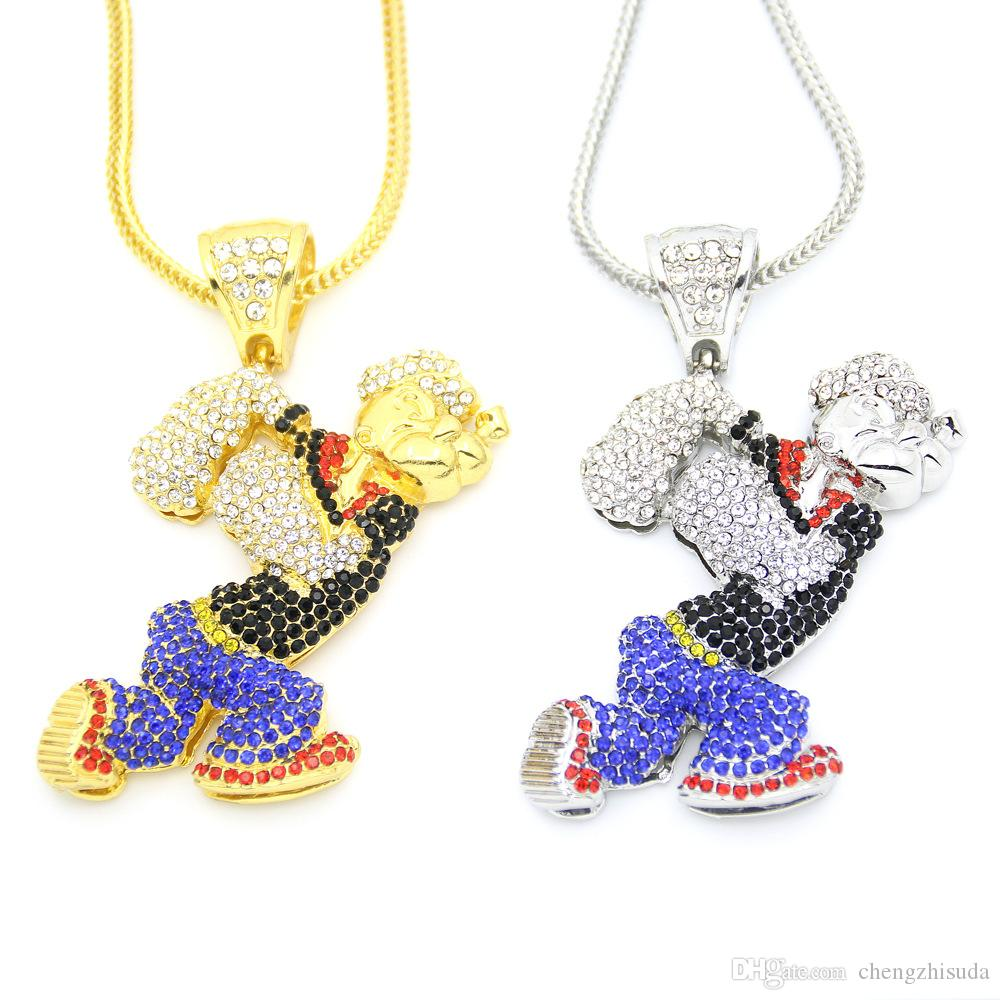 Wholesale bling bling iced out large size cartoon movie crystal wholesale bling bling iced out large size cartoon movie crystal pendant hip hop necklace jewelry 36inch franco chain diamond pendants single diamond pendant aloadofball Images